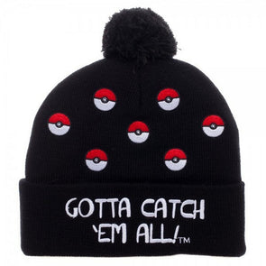 Pokemon Pokeball Cuff Pom Beanie Hat - Snapback Empire