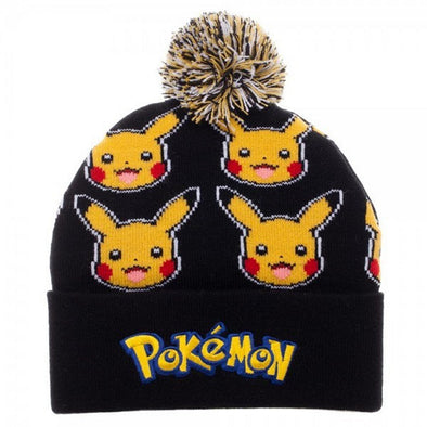 Pokemon Pikachu Face All Over Print Pom Beanie Hat - Snapback Empire