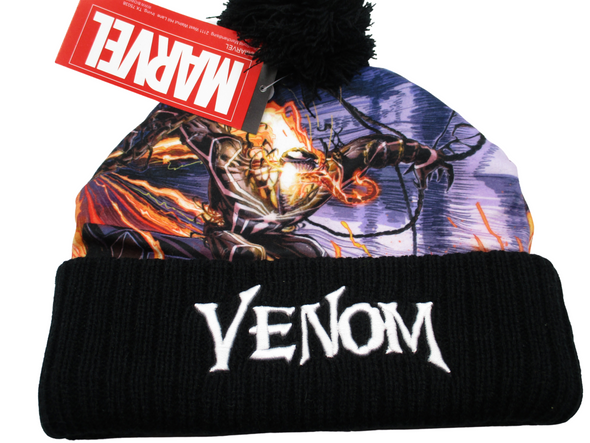 Marvel Venom Comic Print Black Beanie Hat - Snapback Empire