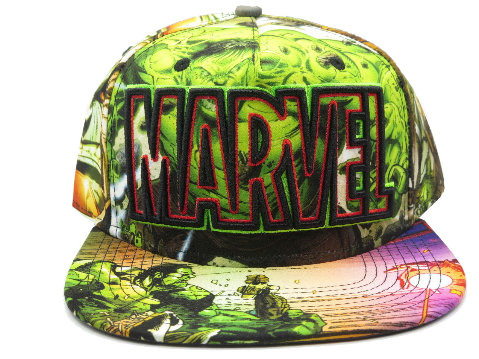 finest selection 76ed5 32fec ... ebay load image into gallery viewer marvel comics hulk green sublimated snapback  hat 1 cd2fc 80947