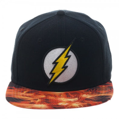 DC Comics The Flash Sublimated Bill Black Snapback Hat - Snapback Empire