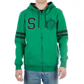 Harry Potter Slytherin Green Fleece Zip Up Hoodie Sweater - Snapback Empire