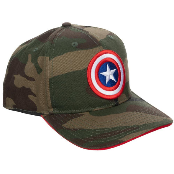 Marvel Comics Captain America Green Camo Pre-Curved Bill Snapback Hat - Snapback Empire