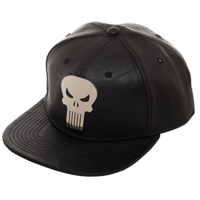 Marvel Punisher Silver Metal Skull Logo PU Leather Black Snapback Hat - Snapback Empire