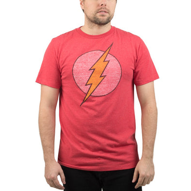 DC Comics Flash Reverse Logo Print Red Distressed Tee Shirt - Snapback Empire