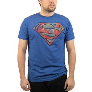 DC Comics Superman Distressed Shield Blue Tee Shirt - Snapback Empire