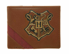 Harry Potter Hogwarts Crest Brown Bifold Wallet - Snapback Empire