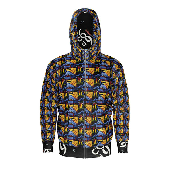 Yellow and Blue Abstract Original Design Zipper Hoodie - c6d9.co [#product_title]