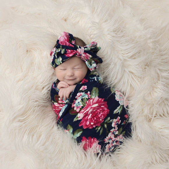 Navy Blue Floral Swaddle Set - c6d9.co [#product_title]
