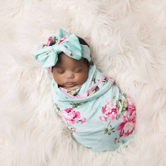 Floral Aqua Swaddle Set - c6d9.co [#product_title]