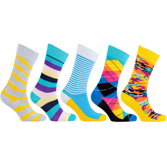 5-Pair Cool Patterned Funky Socks Patterns Shown in Pic - c6d9.co [#product_title]