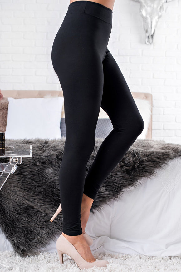 Waiting For The Weekend High Waisted Basic Leggings (Black) - c6d9.co [#product_title]