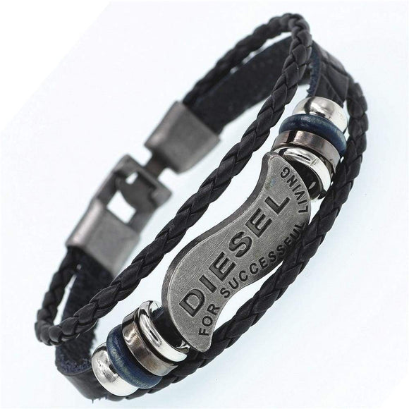 Men's Fashion Jewelry DIESEL Casual Braided Leather Bracelet - c6d9.co [#product_title]