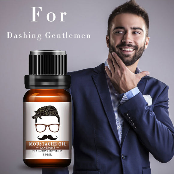 New Lanthome 100% Natural Men Beard Oil for Styling Beeswax Moisturizing Smoothing Gentlemen Beard Care Conditioner 10ml - c6d9.co [#product_title]