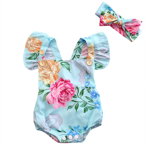 Baby Floral Blue Romper+Headband - c6d9.co [#product_title]