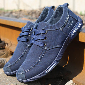 Men's Canvas Shoes - Denim Lace-Up Men's Casual Shoes - c6d9.co [#product_title]