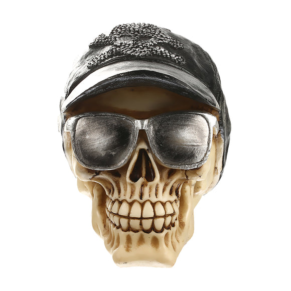 New Hot Sale Resin 3D Skull with Cap&Sunglasses Ornament Gothic Steampunk Rave Cyber Goth Craft Home Decoration Birthday Gift