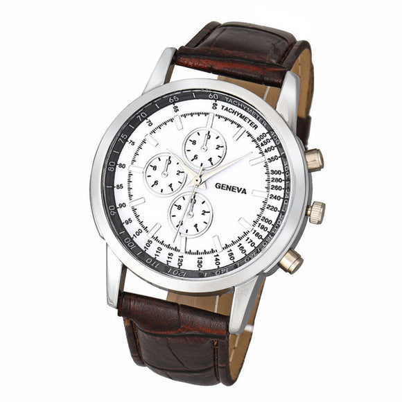 Men's Tachometer Leather Strap Designer Watch - c6d9.co [#product_title]
