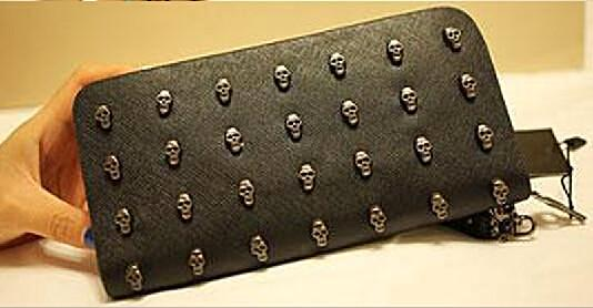 Designer Skull Wallet for her - Solid English Style Clutch - c6d9.co [#product_title]