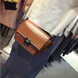 Solid Leather Bag with Chrome Chain Crossbody Bags for Women - c6d9.co [#product_title]