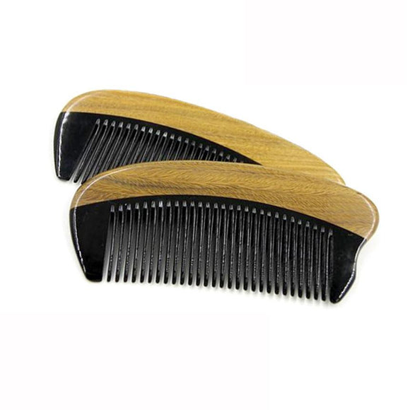 Horn Wood Pocket Beard Hair Comb Fine Tooth Natural Handmade Sandalwood Ox Horn - c6d9.co [#product_title]