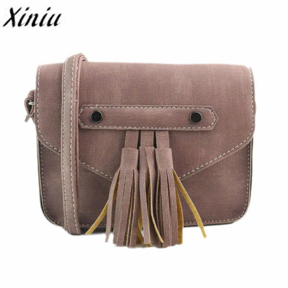Messenger Bag with Vintage Tassels - Saddle Bag Style, Women