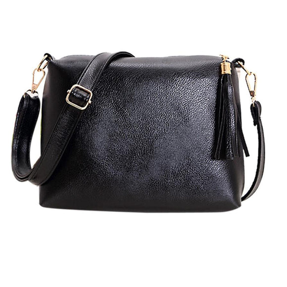 Solid Zipper Versatile Handbag with Tassels Genuine Leather - c6d9.co [#product_title]