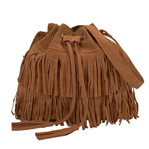 Women's Designer Bag with Decorative Tassels and Drawstring - c6d9.co [#product_title]