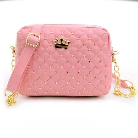 Women's Leather Bag in Solid Candy Colors with Chrome Rivets and Chain, Genuine Leather Handbag - c6d9.co [#product_title]