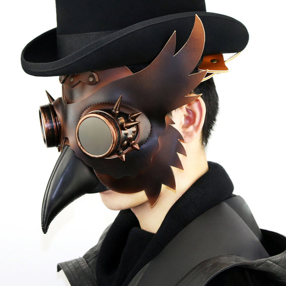 Corzzet Punk Rave Brand New Gothic Steampunk Women/Men PU Leahter Plague Doctor Bird Wings Rivets Halloween Brown Mask