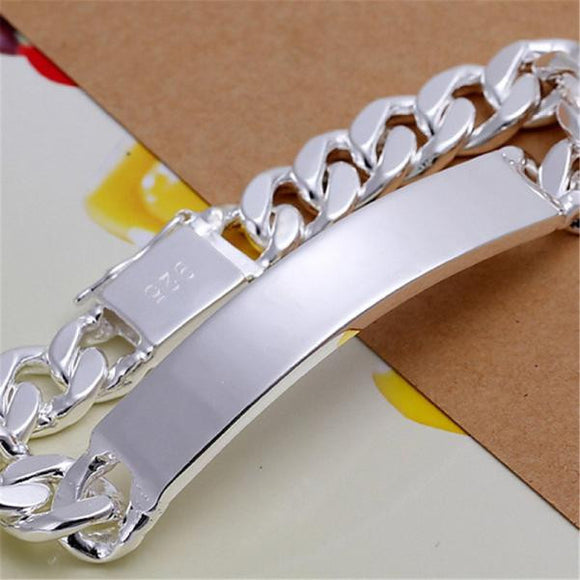 Chain Link Solid Silver Rugged Design Unisex Bracelet - c6d9.co [#product_title]