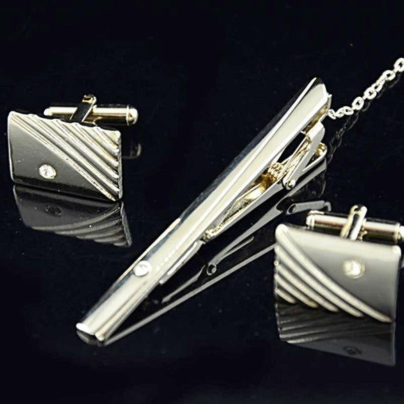 Diamond Cufflinks with bonus Designer Tie Clip - c6d9.co [#product_title]