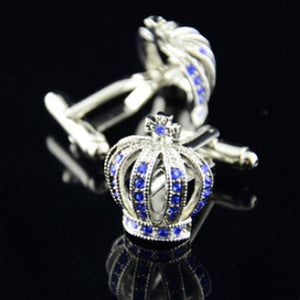 Vintage Cufflinks - Stainless Steel Mens Imperial Blue Crown Cufflinks - c6d9.co [#product_title]
