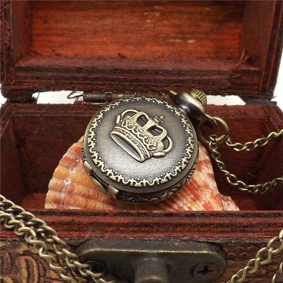 Hot Fashion Vintage Retro Bronze Quartz Pocket Watch Pendant Chain Necklace - c6d9.co [#product_title]