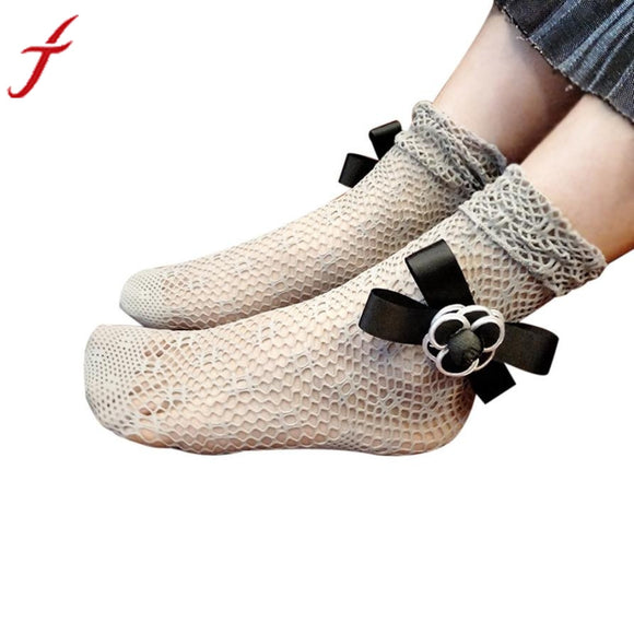 Fishnet Socks Fashion Women Ruffle Ankle Length Socks Solid 3 Colors Mesh Lace Fish Net Short Socks - c6d9.co [#product_title]