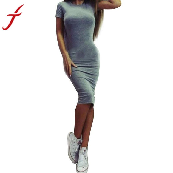 Sexy Solid Short Sleeve, Slim, A-Line, Knee-Length Dress - c6d9.co [#product_title]