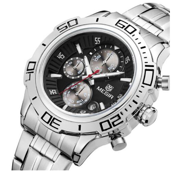 Quartz Watch with Stainless Steel Band for Men: Multifunction, Chronograph, Calendar - c6d9.co [#product_title]