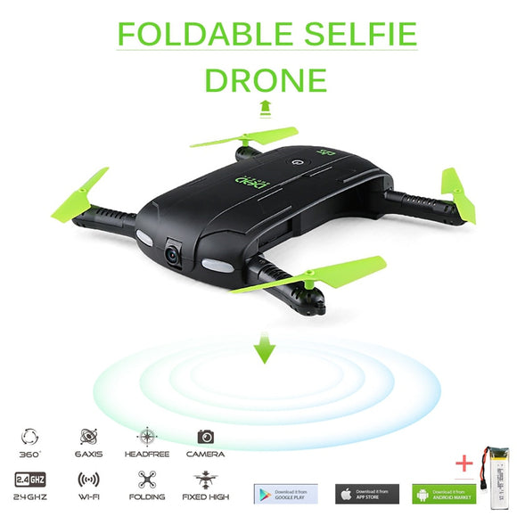 Selfie Drone With Wifi FPV, HD Camera, Foldable Pocket RC Drone, Phone Controlled Helicopter - c6d9.co [#product_title]
