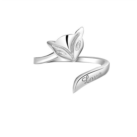 Lady Fox Style Adjustable 925 Sterling Silver Finger Ring - c6d9.co [#product_title]