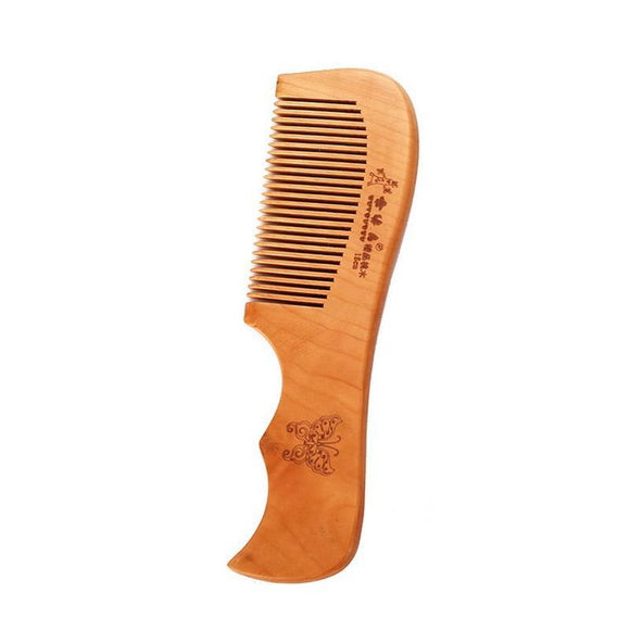 Engraved Natural Peach Wood Beard Comb - c6d9.co [#product_title]
