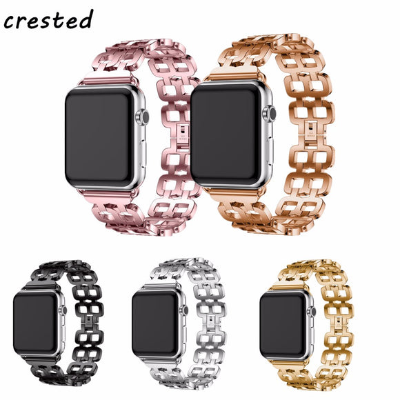 CRESTED stainless steel strap for apple watch band 42mm 38mm iwatch 3/2/1 link bracelet wrist replacement watchband metal band - c6d9.co [#product_title]