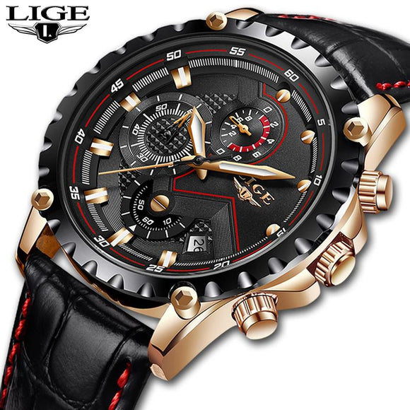 LIGE Luxury Watch With Casual Leather Strap - c6d9.co [#product_title]