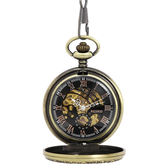 NICERIO Retro Bronze Skeleton Windup Steampunk Semi-Auto Mechanical Roman Numerals Pocket Watch with Fob Chain - c6d9.co [#product_title]