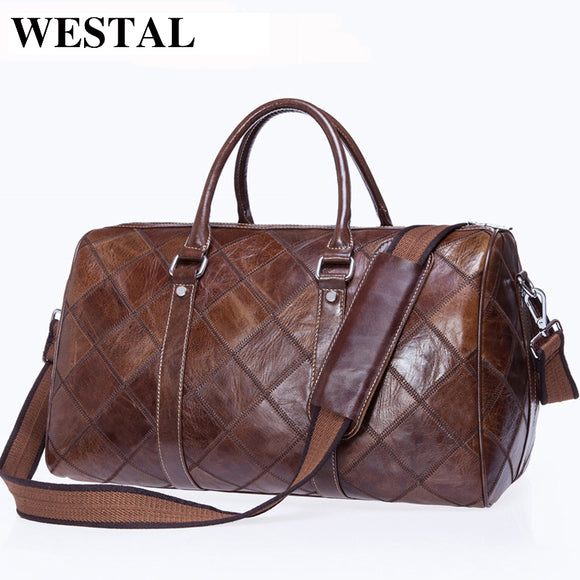 Men's Leather Travel Bag, Genuine Leather Dufflel Bag Suitcase Carry on - c6d9.co [#product_title]