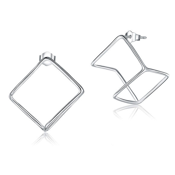 Cube Stud 925 Sterling Silver Earrings Stylish Jewelry - c6d9.co [#product_title]