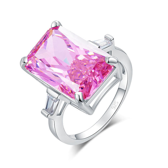 8.5 Carat Pink Simulated Diamond Stone Solid 925 Sterling Silver Ring - c6d9.co [#product_title]