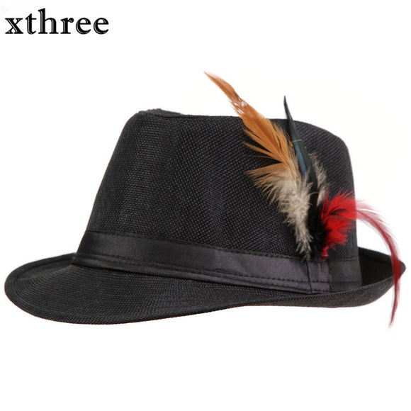 Fedora with Side feathers Gangsta Bowler Hat - Straw Panama Hat - c6d9.co [#product_title]