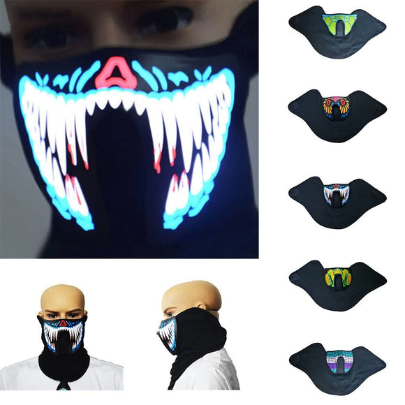 2018 Halloween Cosplay Props Rave Mask Sound Activated LED Luminous Ghoul Teeth Ghost Light Up Dance Party Scary Costume Masks - c6d9.co [#product_title]