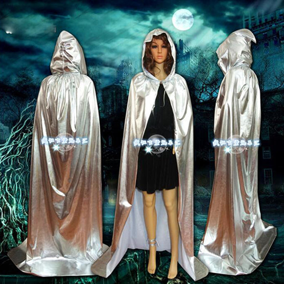 Halloween Cloak Gold and Silver Sorcerer Vampire of Death Party Costume Cloak Cape rave birthday party decorations adult