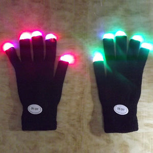 Light LED Flashing Finger Tip Gloves 7 Mode Mittens Costumes For Rave Party Skating Riding 2017 - c6d9.co [#product_title]